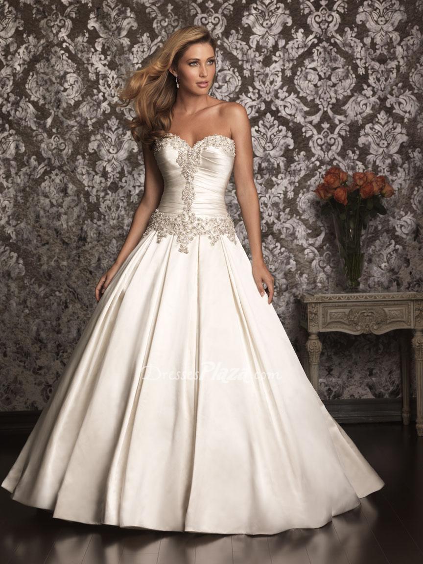 Best Satin Ball Gown Beaded Sweetheart Strapless Corset Back Wedding Dress 1